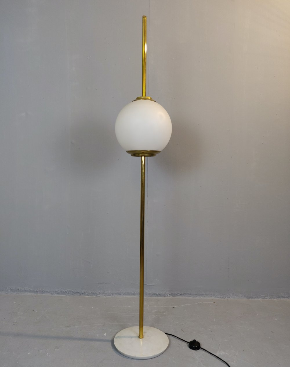 Brass & Marble Italian Floor Lamp, 1960s
