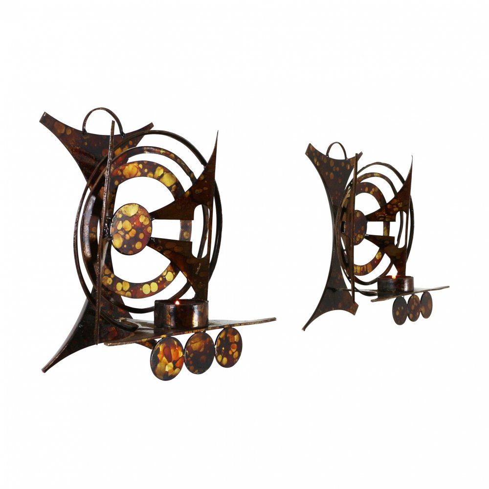 Pair of brutalist metal wall candle holders by Henrik Horst, 1960s