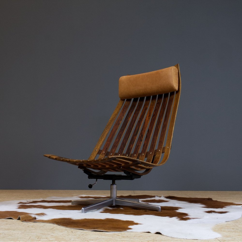 Hans Brattrud Scandia Swivel chair in rosewood & leather
