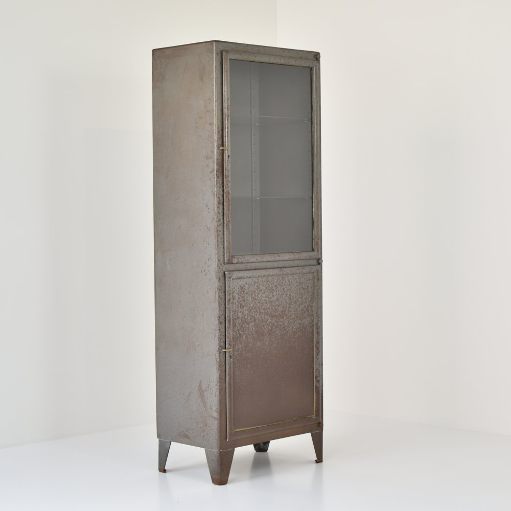 Rough patinated industrial vitrine cabinet, France 1950