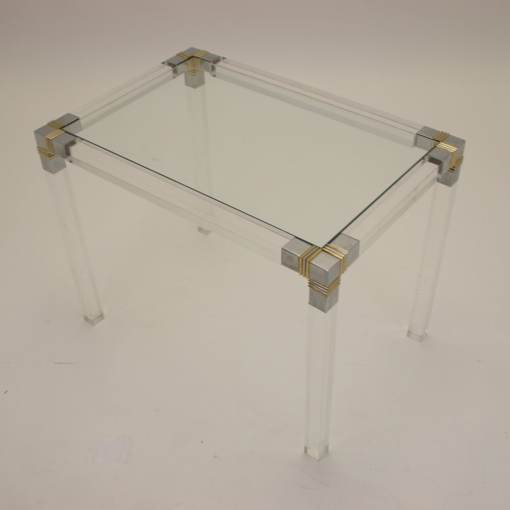 Plexiglass table with gold & chrome accents