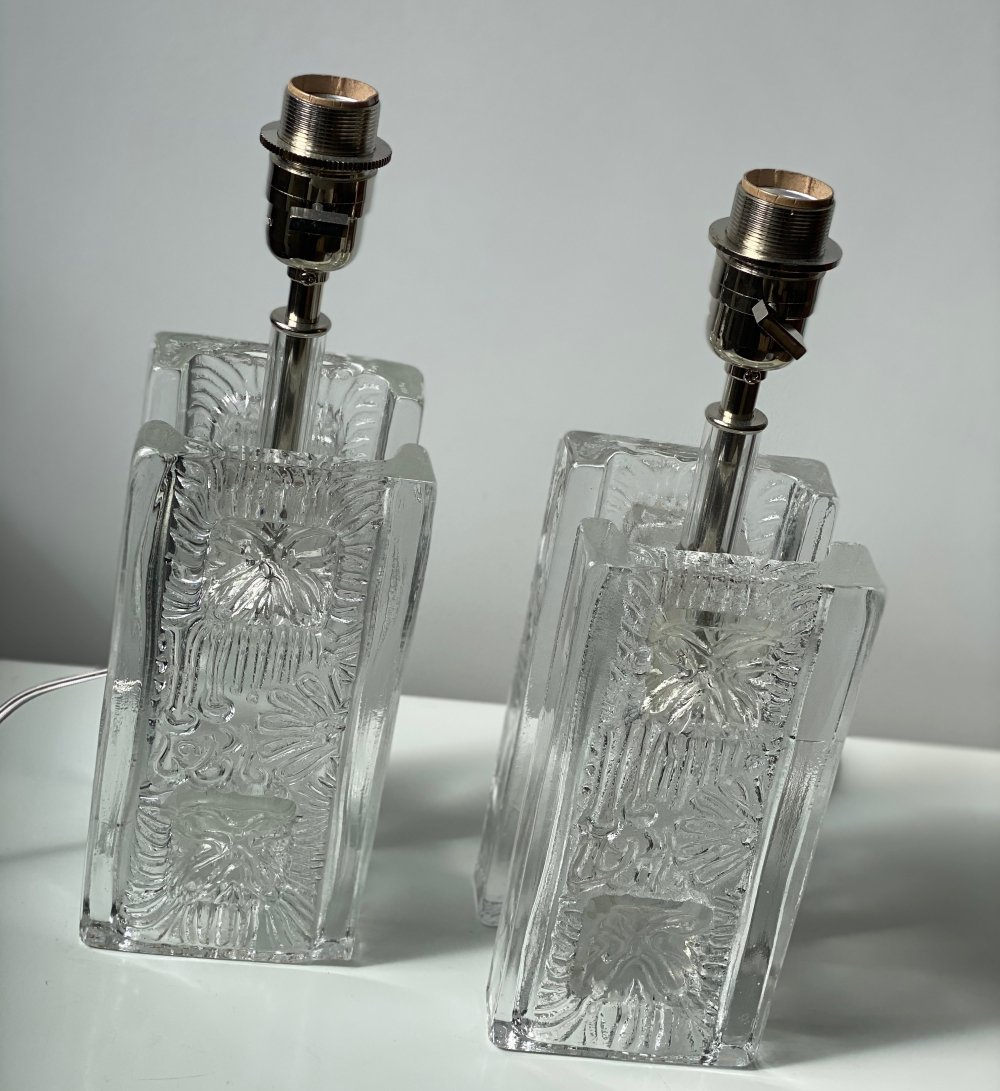 Pukeberg Pair of Clear Glass Squared Table Lamps, 1960s