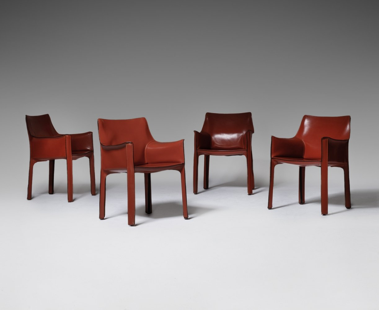 Set of 4 Cab chairs by Mario Bellini for Cassina, 1970s