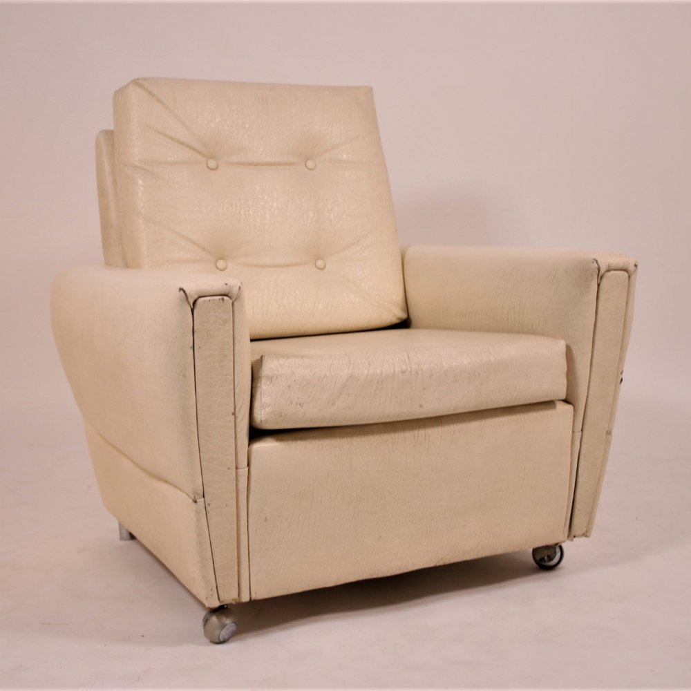 White cream leather relax armchair, 1960s