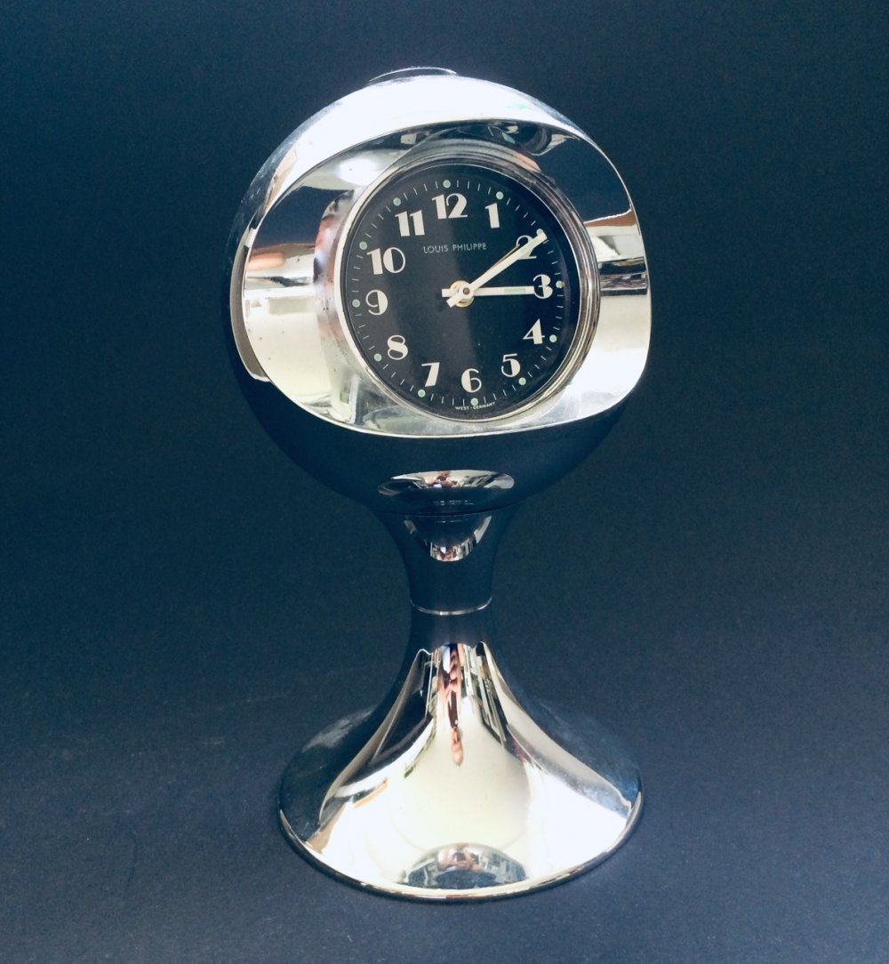 Vintage Space Age Design Clock by Louis Philippe, West-Germany 1960