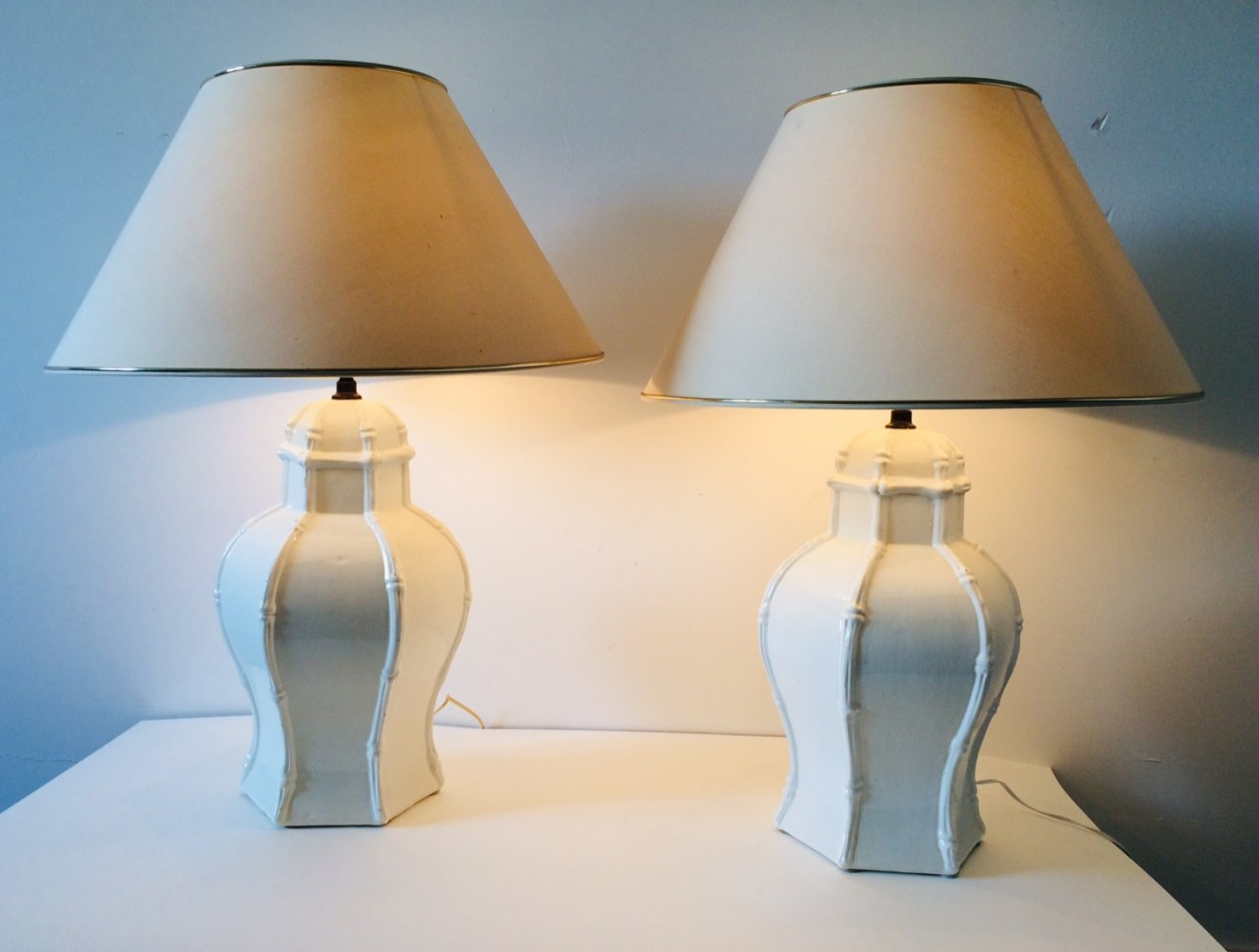 Pair of Deco White Ceramic Table Lamps by Casa Fina, Spain 1970
