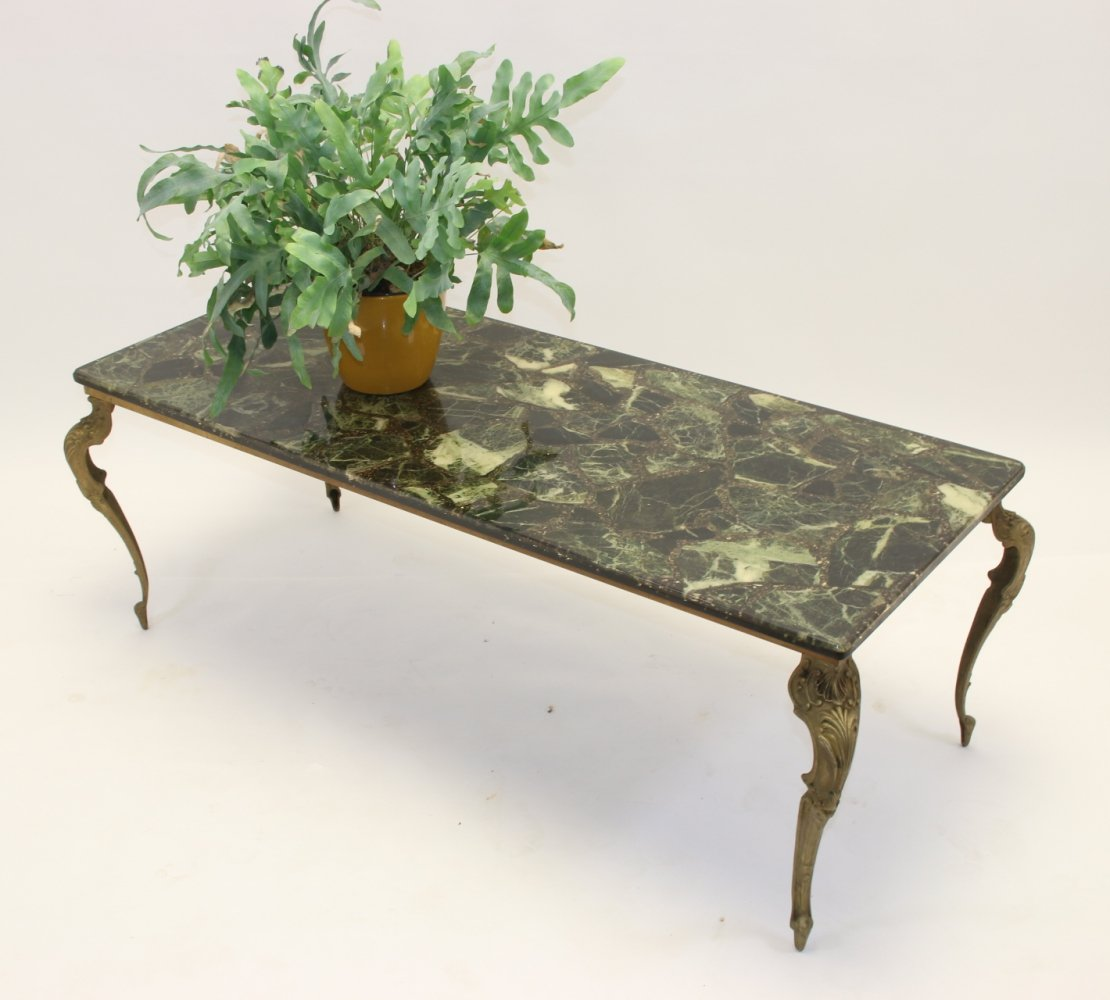 Green marble epoxy coffee table, 1950s