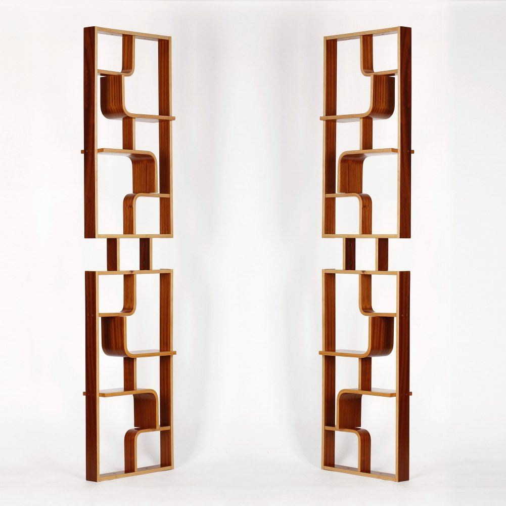 Set of 2 Mahogany Room Dividers by Ludvik Volak for Holesov, 1960s