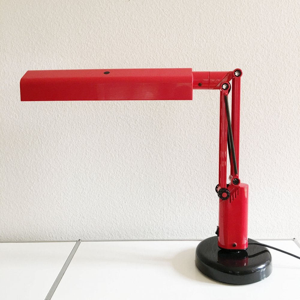 Vintage red Lucifer desk lamp by Hans Ehrich & Tom Ahlström for Fagerhults