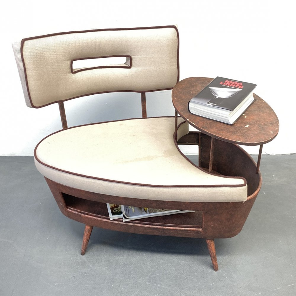 Mid Century Side Table with integrated Metal Chair, Italy 1970s