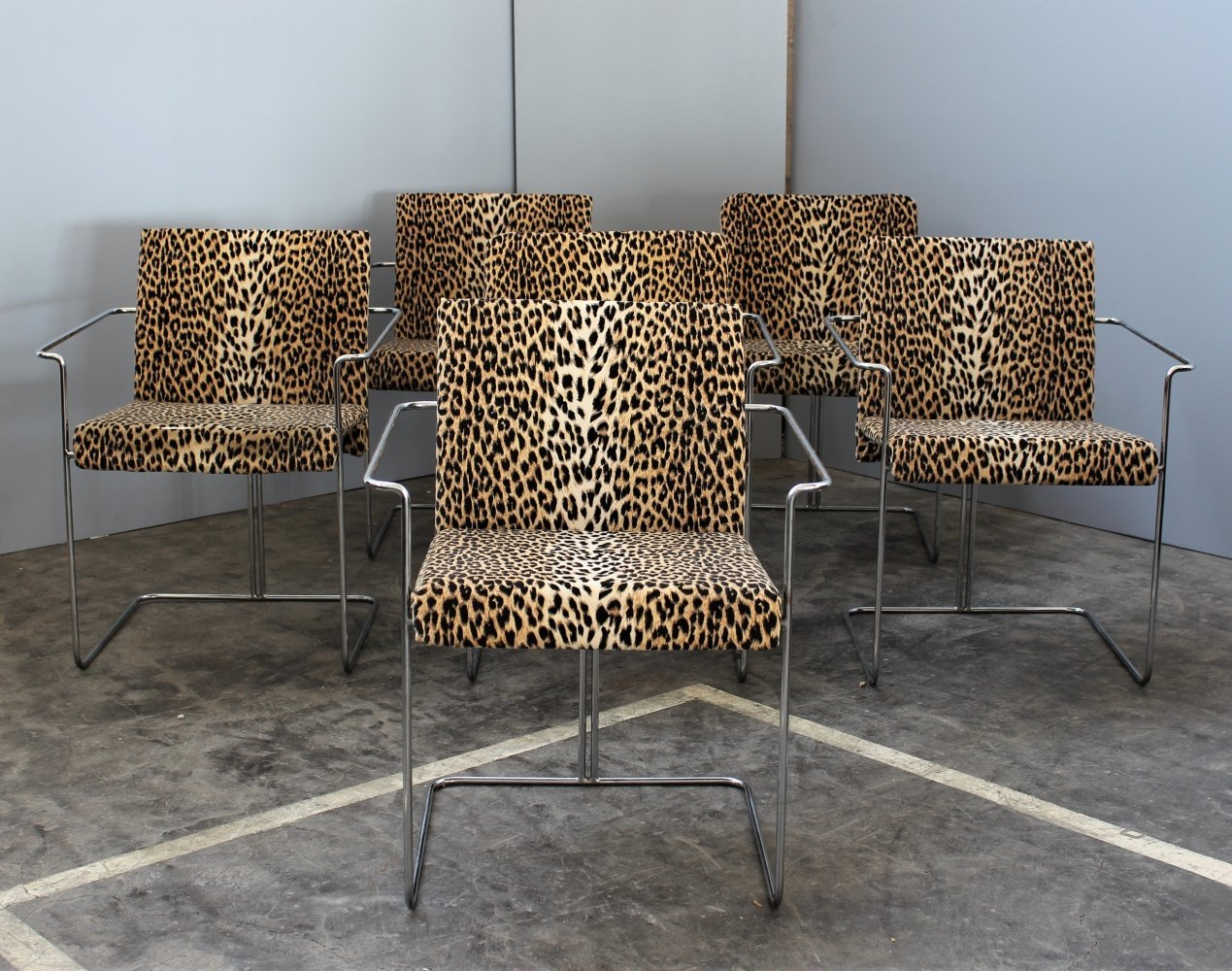 Set 6 tubular chairs in Leopard tapestry by Saporiti, Italy 1970