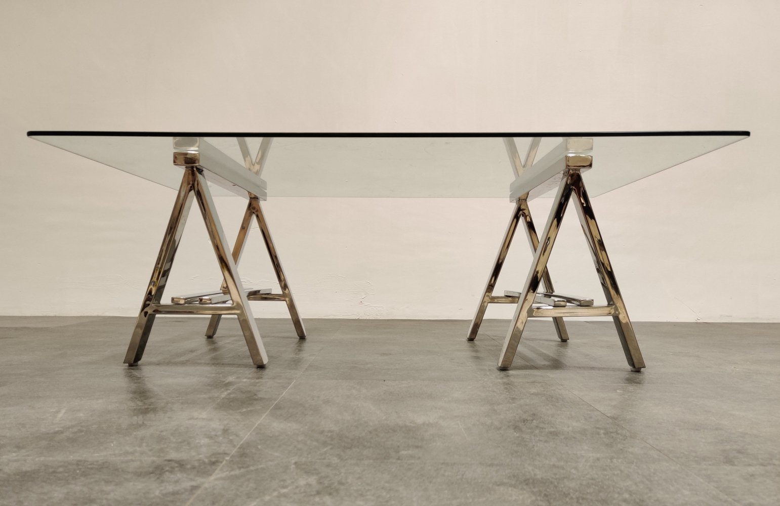 Vintage chrome trestle coffee table from Roche Bobois, 1980s