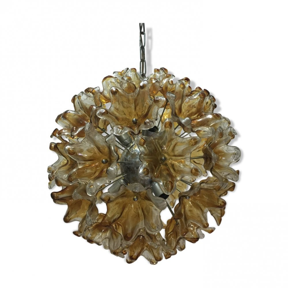 Large Murano Glass Flower Sputnik Chandelier, 1970s