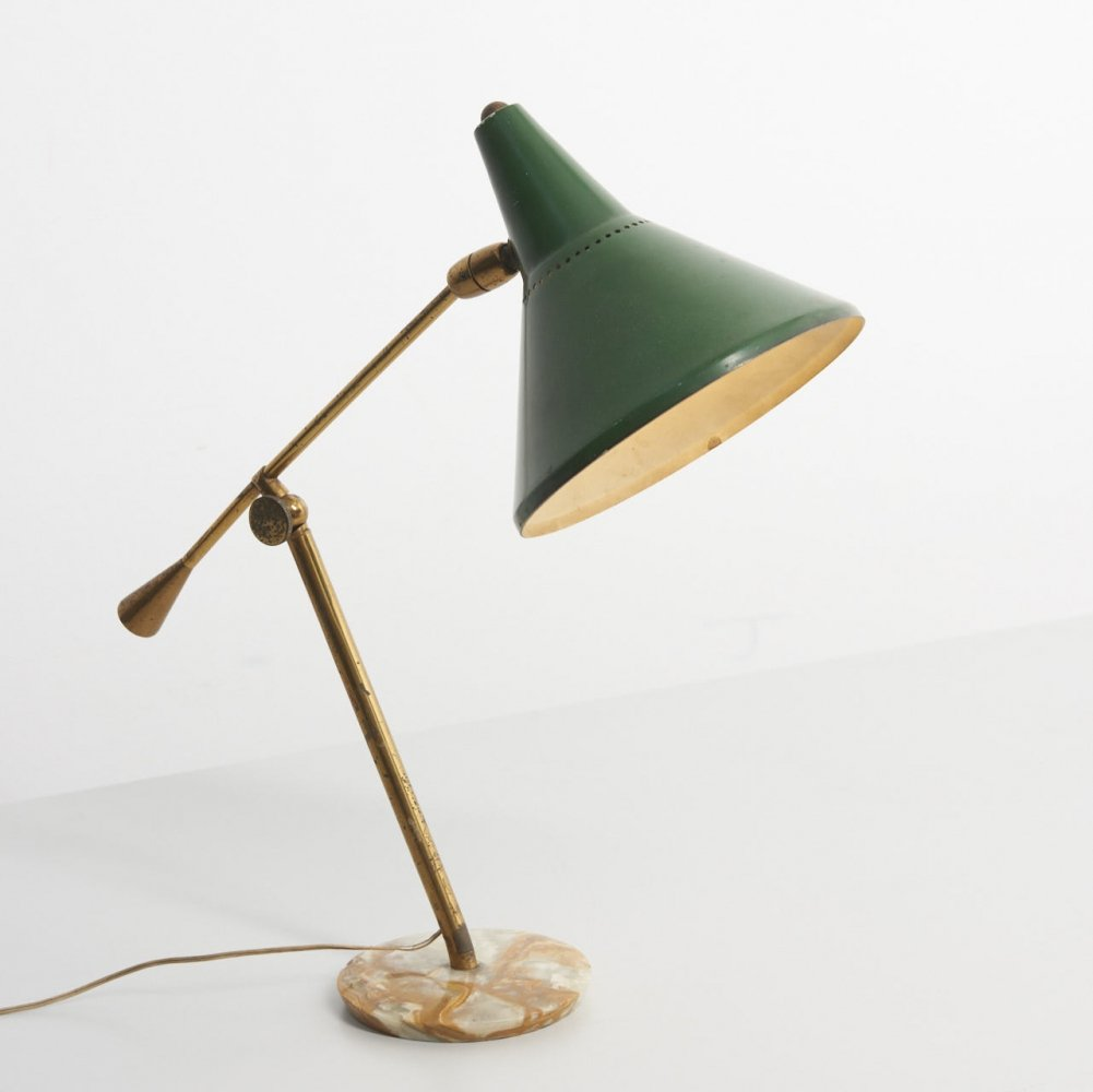 Brass Table Lamp with Marble Foot, Italy 1950