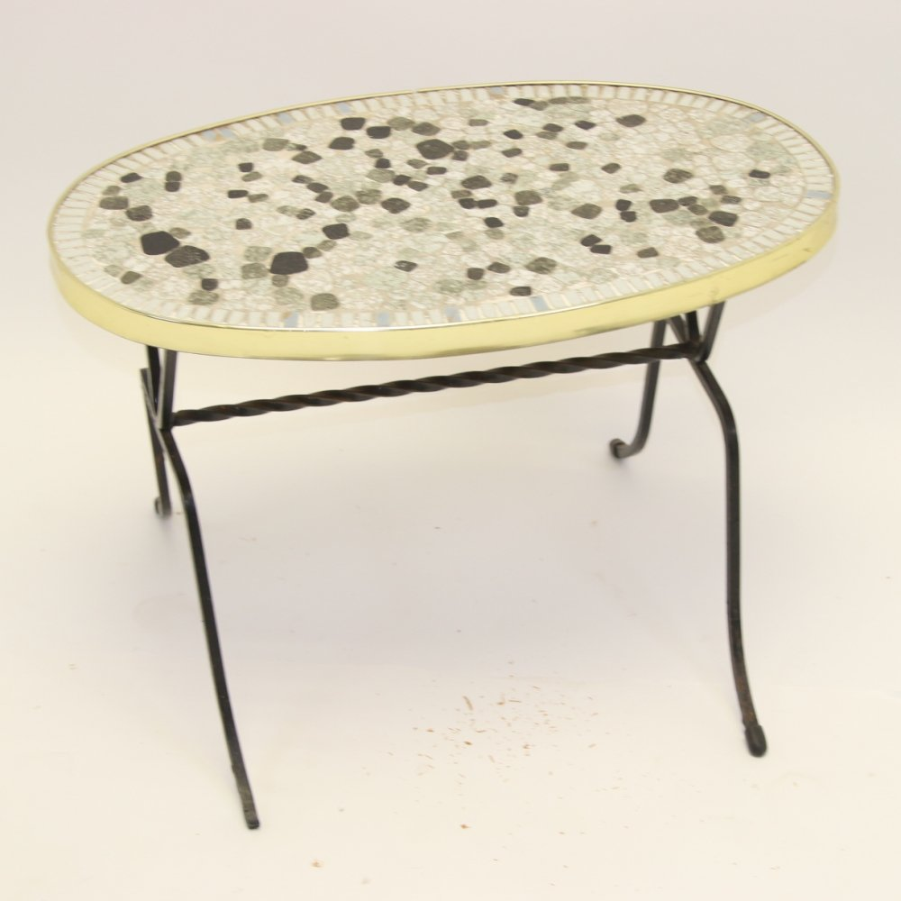 Elongated round mosaic table, 1950s
