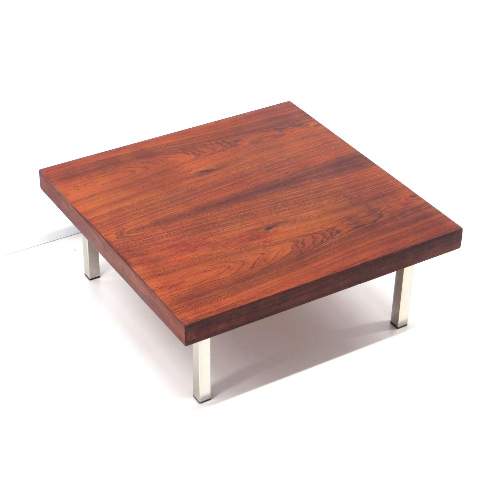 Square vintage coffee table with metal legs made in the 60s
