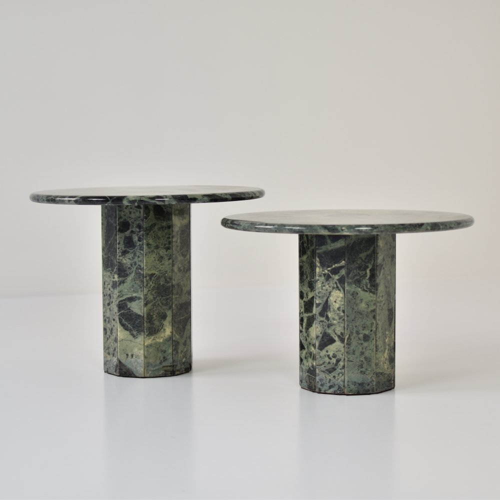 Pair of emerald marble side tables, Italy 1970