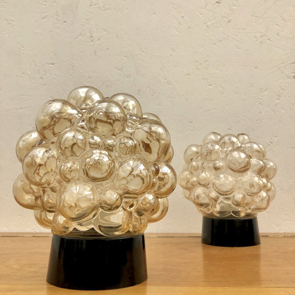 Pair of Helena Tynell bubble glass ceiling lights, 1960s