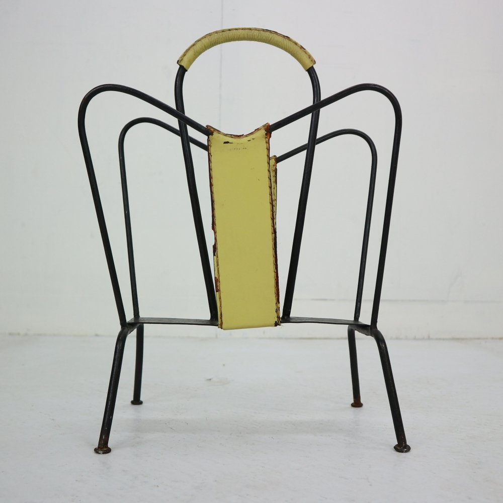 Jacques Adnet Yellow Leather & Black Iron Magazine Rack, France 1950s