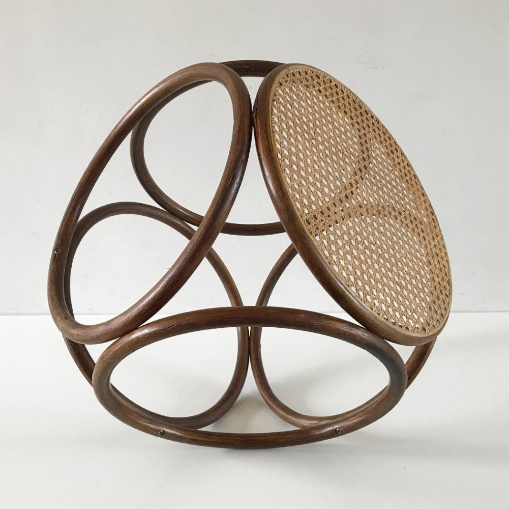 Vintage geometric side-table or stool by Thonet, 1940s