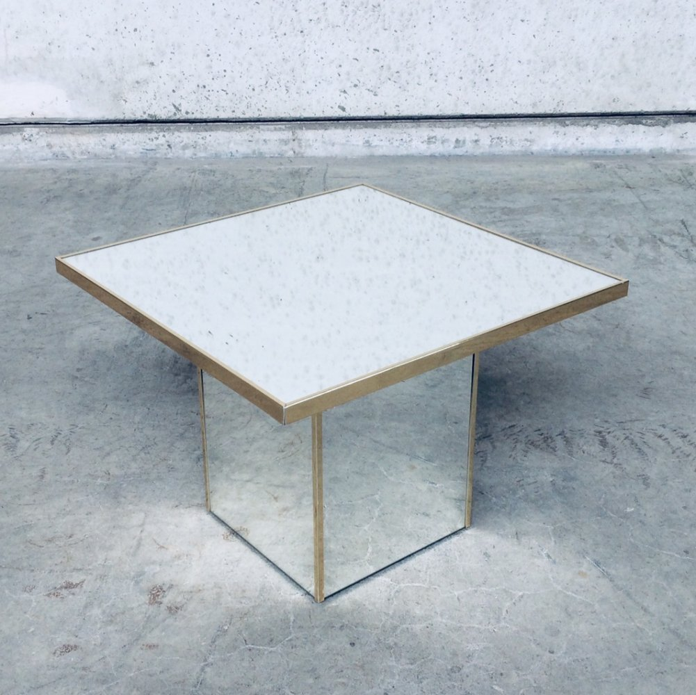 Hollywood Regency Style Square Mirror Side Table, 1970