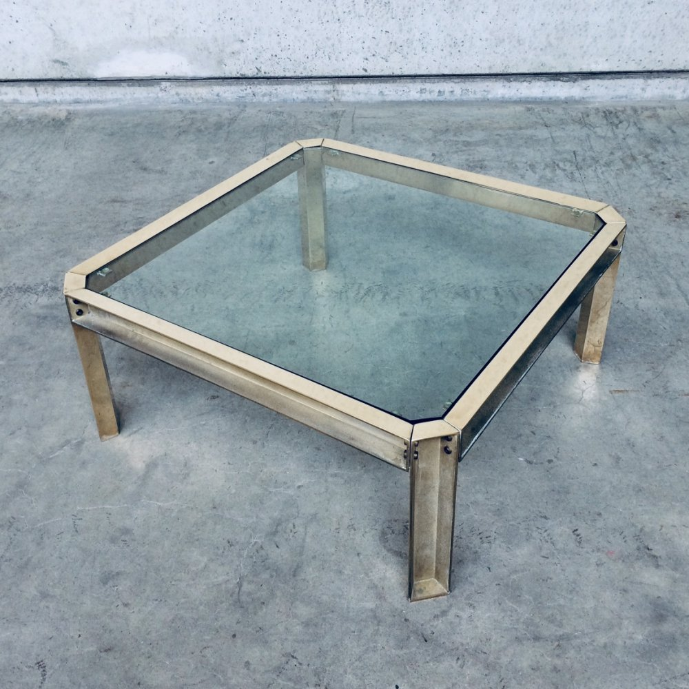 Brass & glass square coffee table, 1970s
