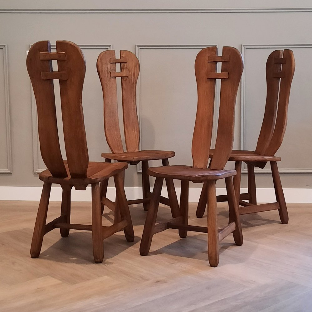 Set of 4 Brutalist High Back Chairs, 1960s