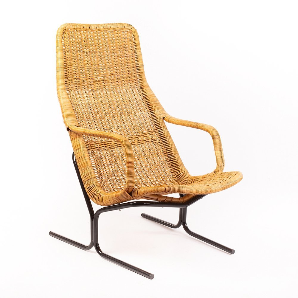 Vintage model 514 wicker lounge chair by Dirk van Sliedregt for Gebr. Jonkers