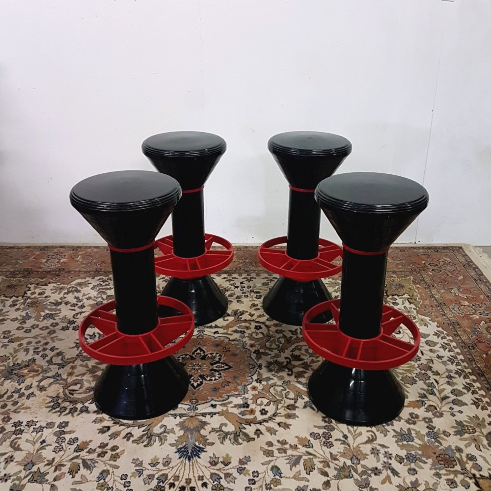 Set of 4 Memphis style bar stools by H Massonnet for Stamp, France 1980s