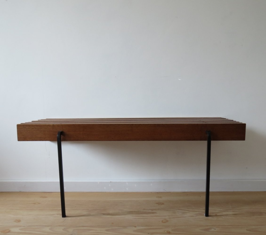 Pair of 1960s Mahogany Slatted Benches / Bedside Tables