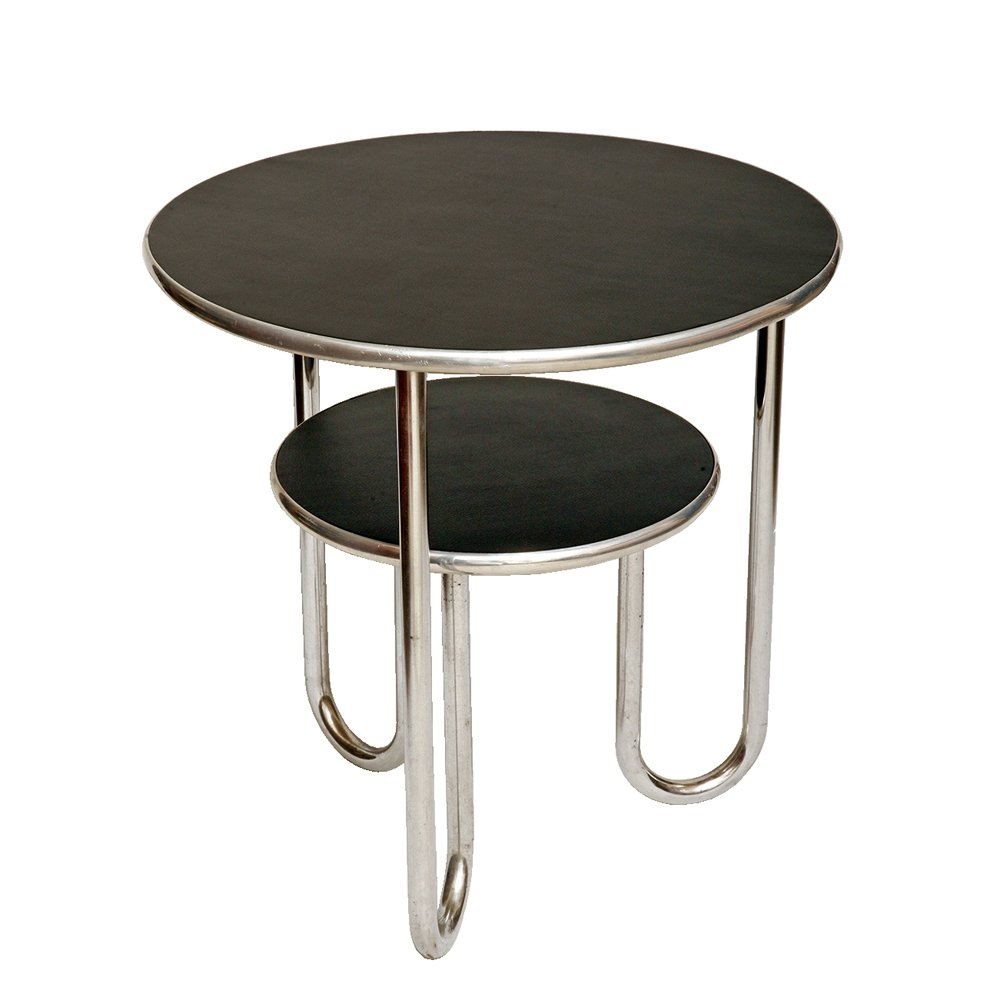 Bauhaus table by Mauser Werke with tubular chrome frame, Germany 1950s