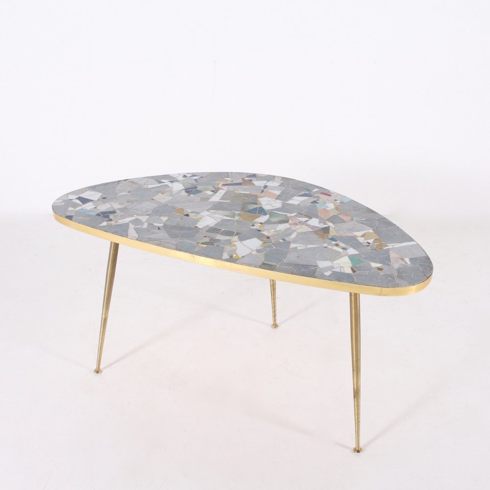 Mosaic of ceramic & solid brass coffee table by Berthold Müller Oerlinghausen, 1960