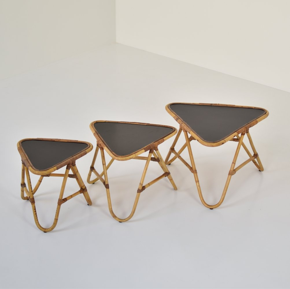 Set of three bamboo nesting tables by Rohé Noordwolde, The Netherlands 1950