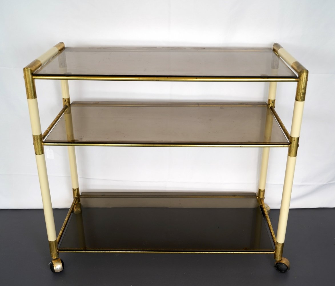 Vintage Italian three shelves brass & lacquer trolley / bar cart by Tommaso Barbi, 1970s