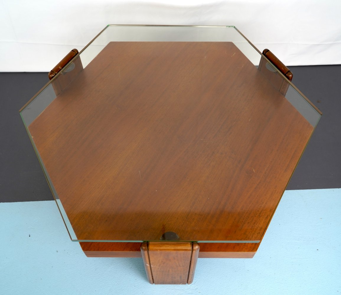Midcentury Italian Rosewood & thick glass coffee table, 1970s