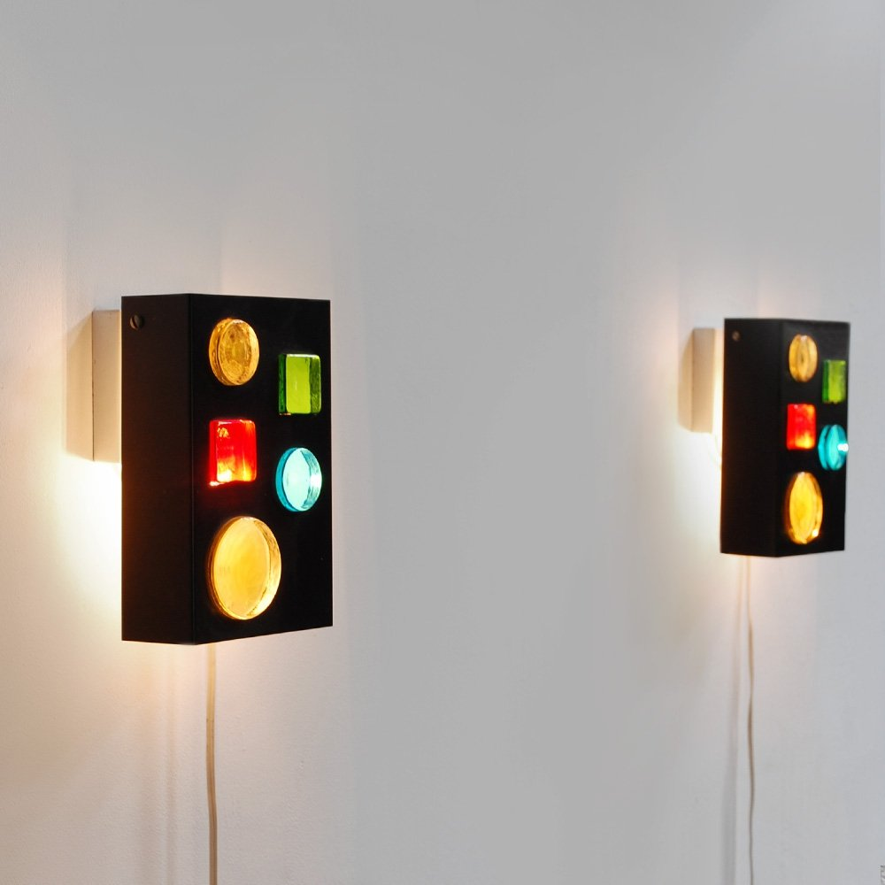 Pair of 1960s Collage wall lamps by Raak Amsterdam