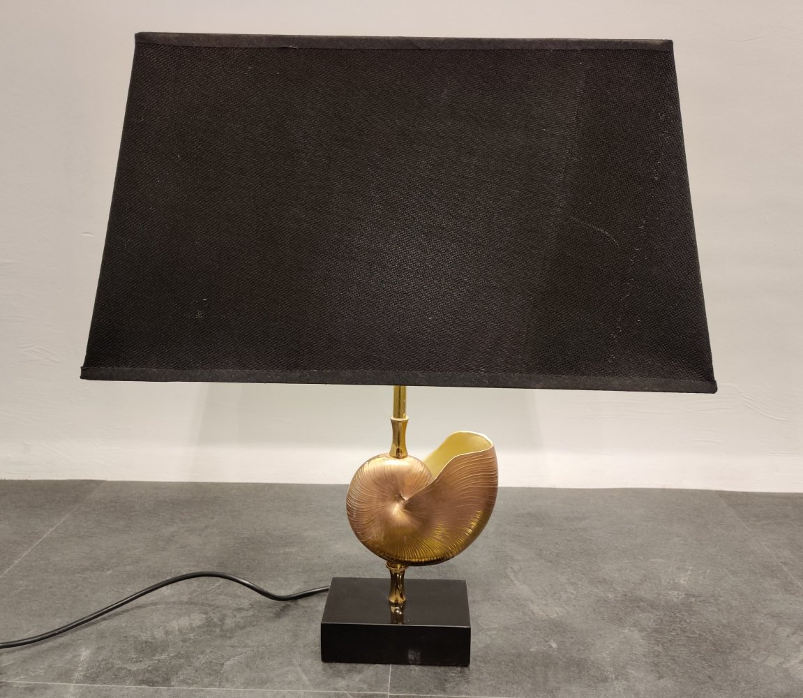 Vintage Brass Nautilus Shell Table Lamp, 1970