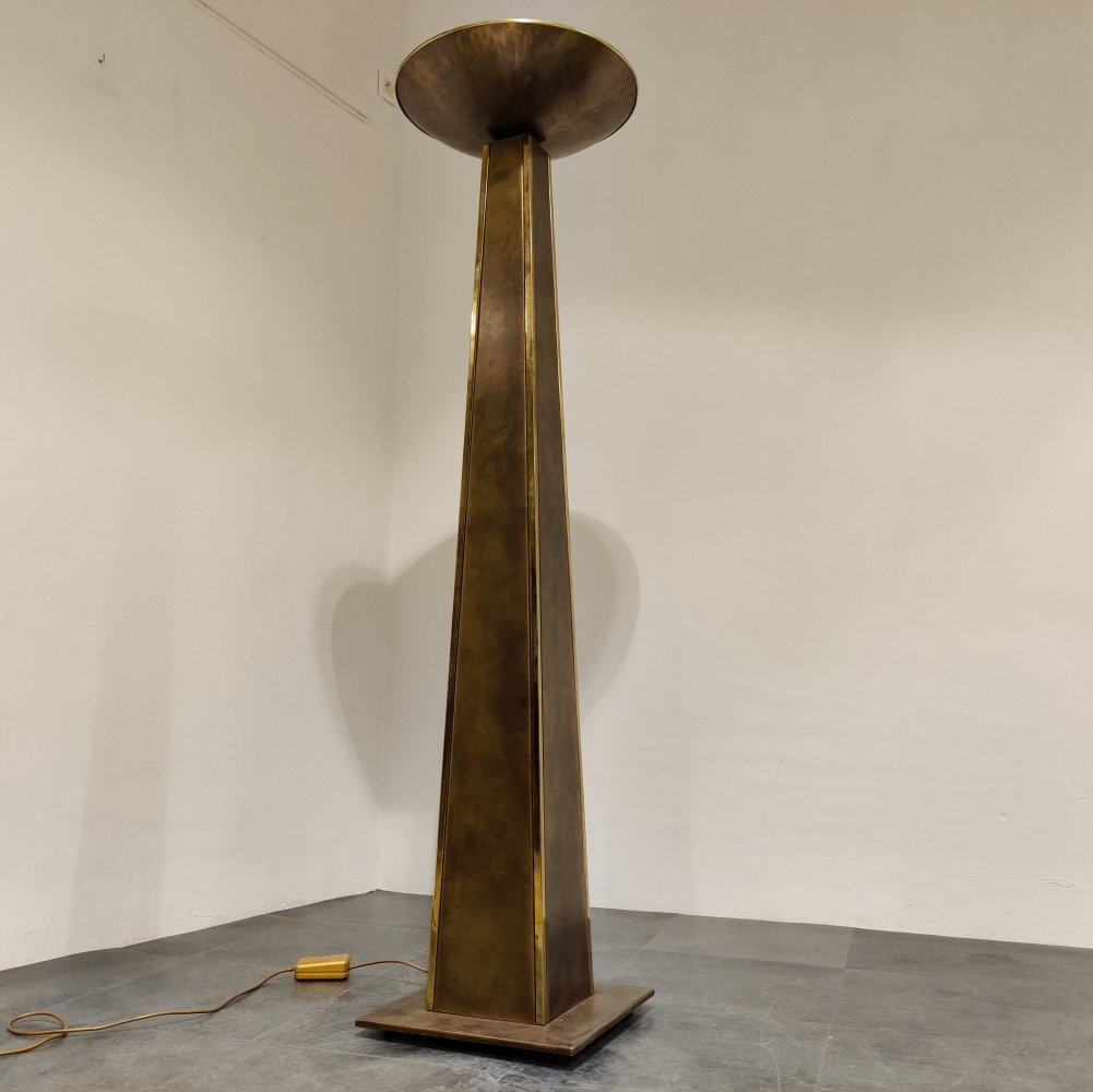 Large torchiere floor lamp by Belgochrom, 1980s