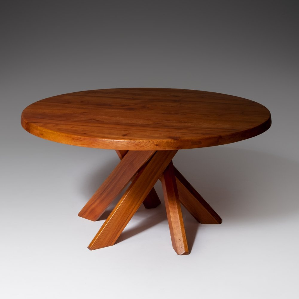 Pierre Chapo T21 Round Dining Table in Solid Elm