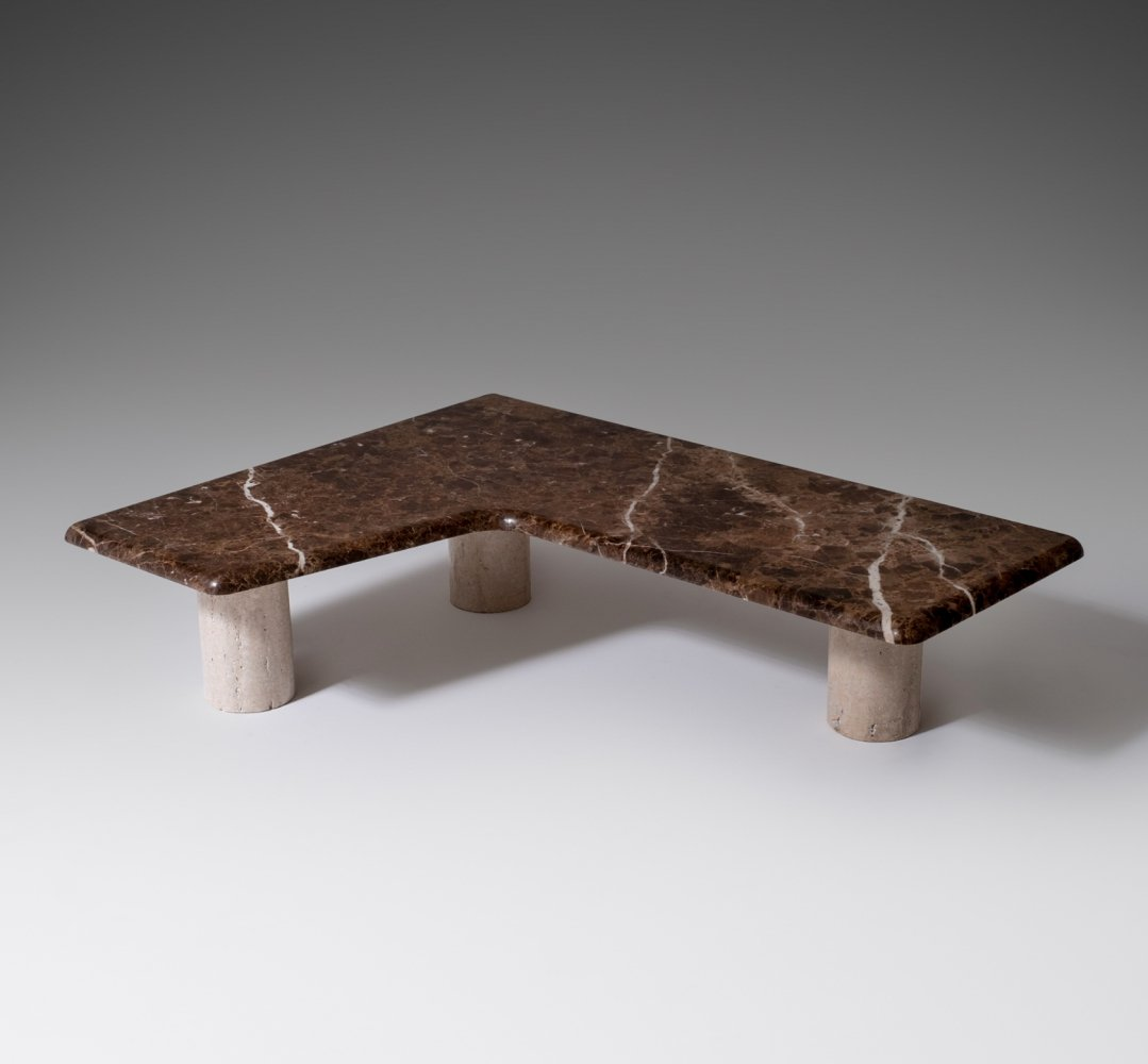 Boomerang shaped coffee table in Marble & Travertine, 1960s