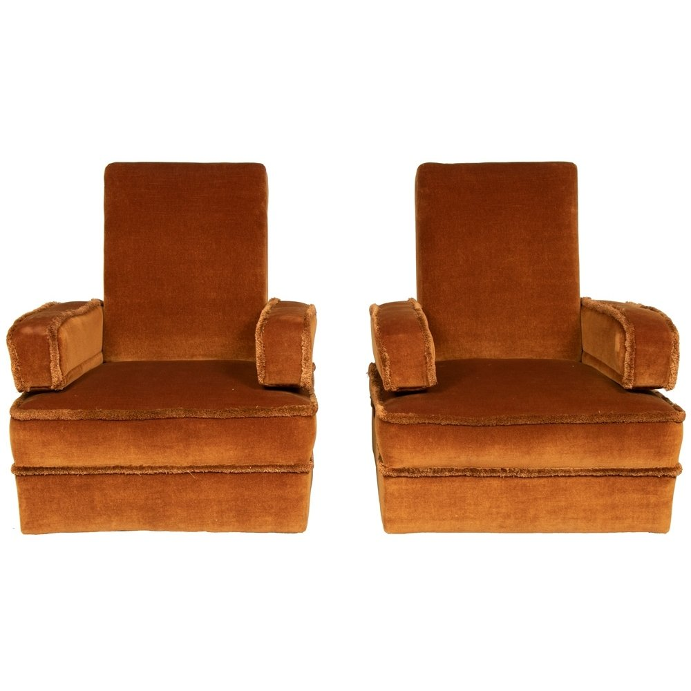 Pair of Midcentury Gold Velvet Armchairs, c.1960