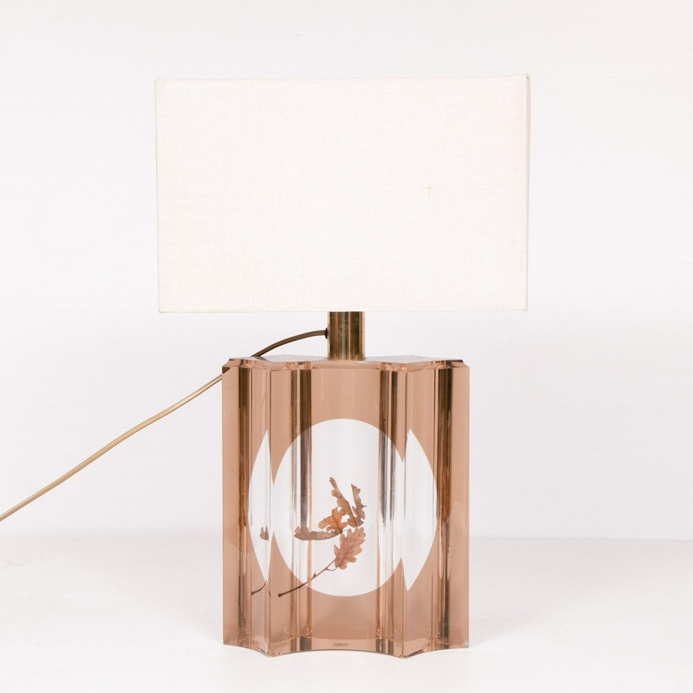 Hollywood Regency Italian Oak Leaf Table Lamp, c.1970