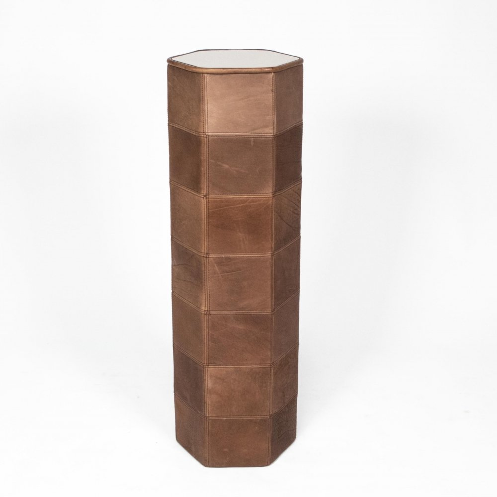 Leather column / object column in neck leather by De Sede, 1970s