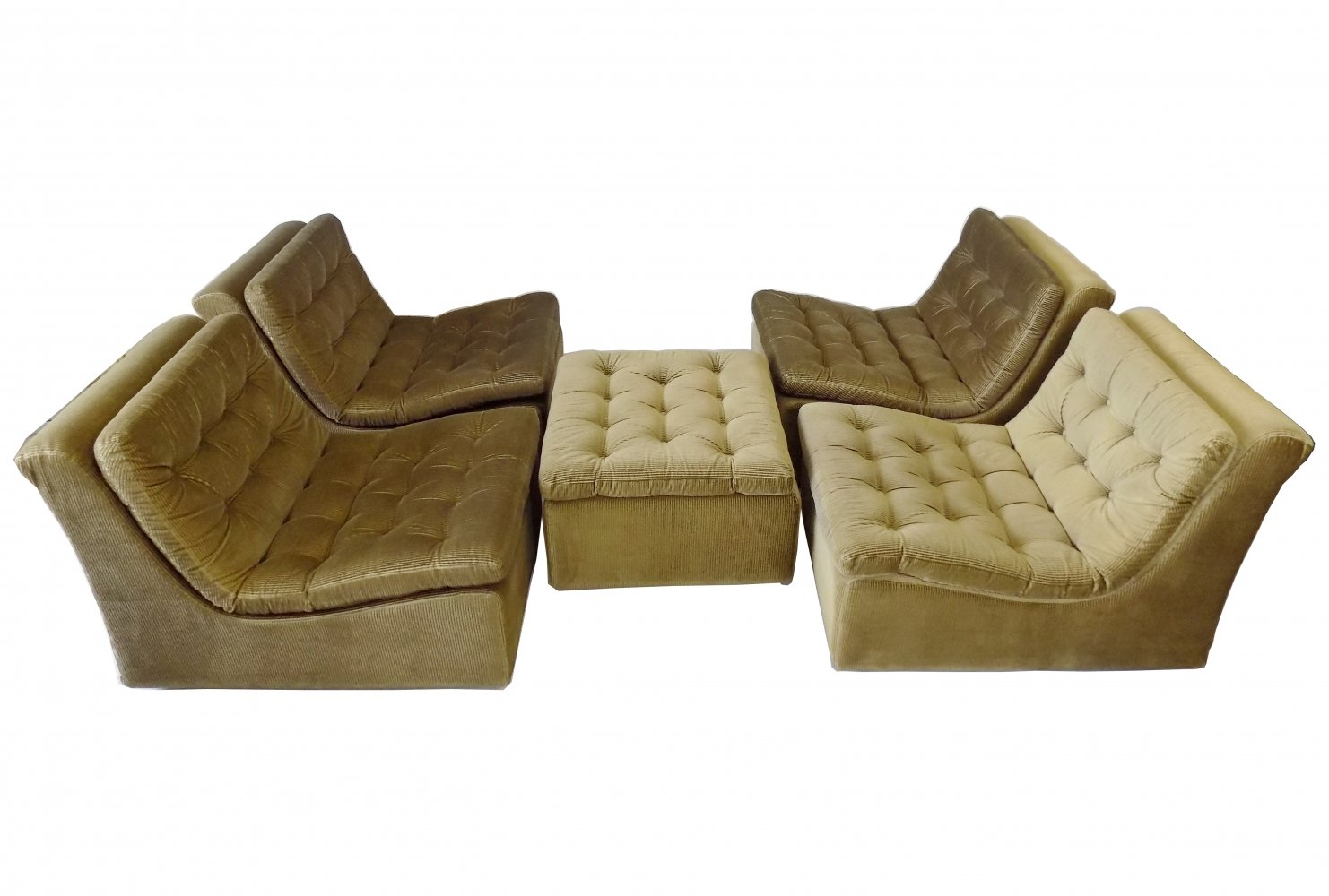 DUX reedgreen set of 4 loungechairs with ottoman