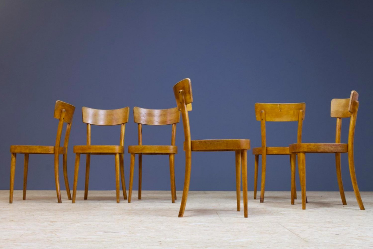 Set of 6 Plywood Bistro chairs, 1960s