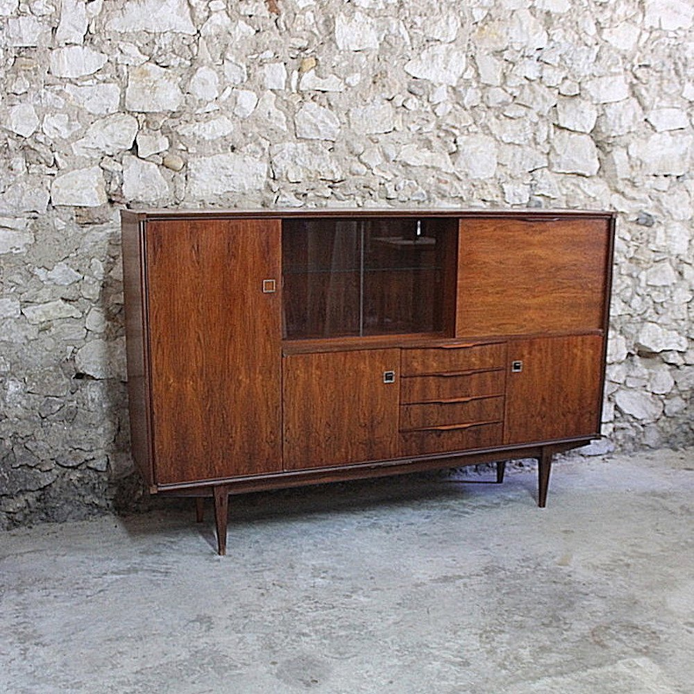 Vintage mid century Scandinavian style highboard in varnished rosewood by ARNO, 1960s
