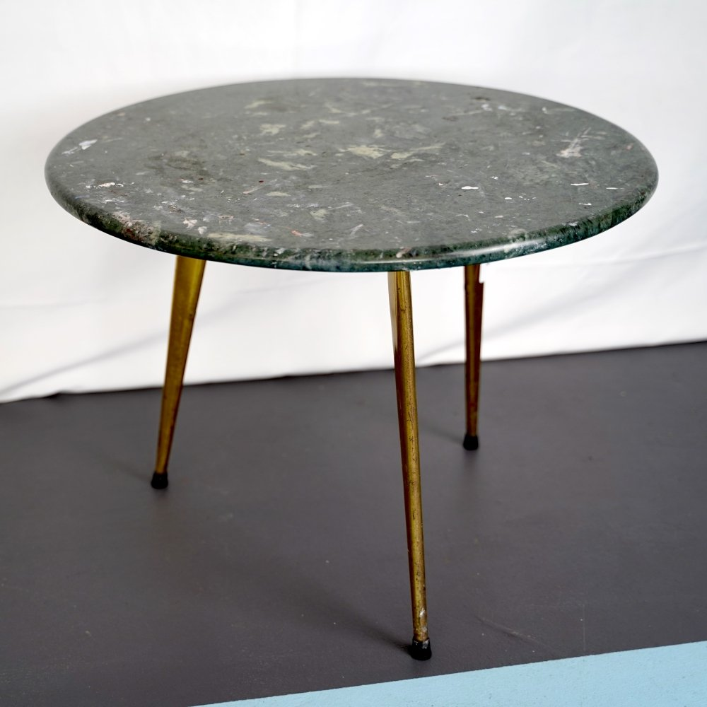 Italian brass & green marble coffee or side table, 1950s