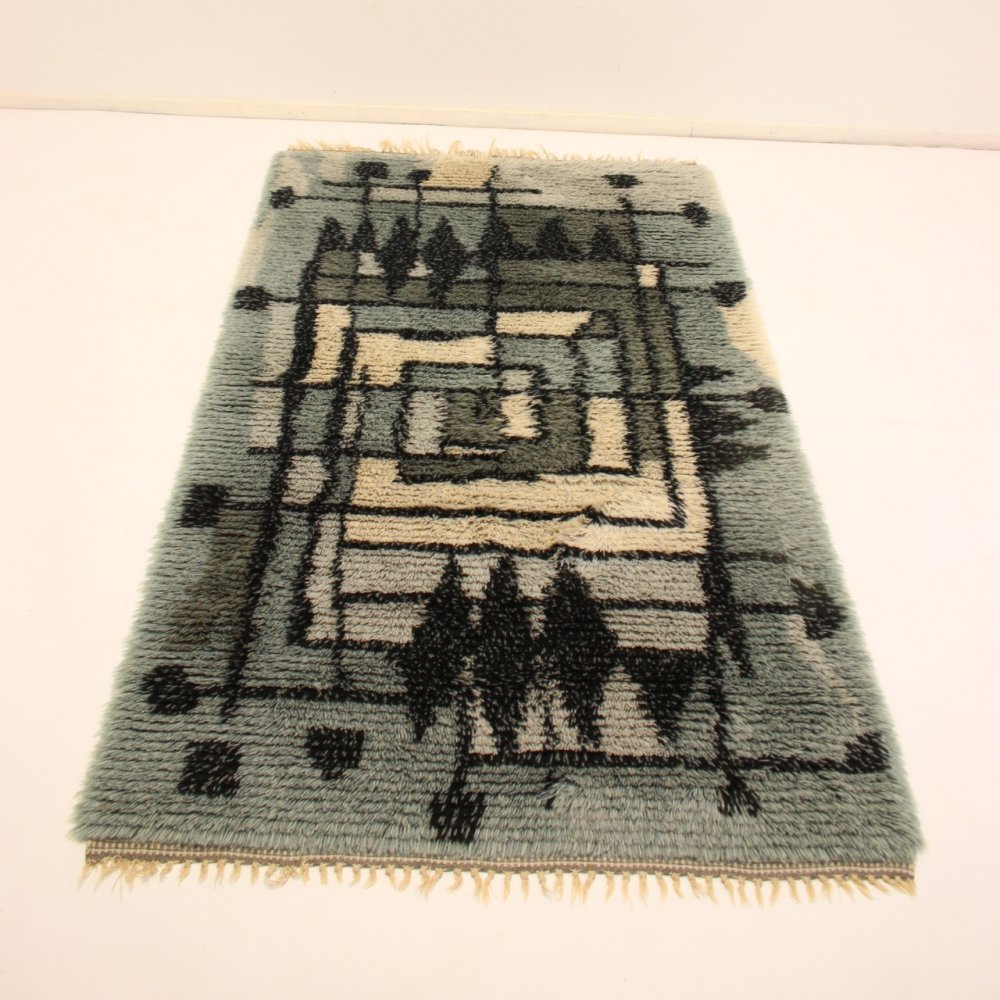 Hand-knotted Swedish rug in light blue, 1960s