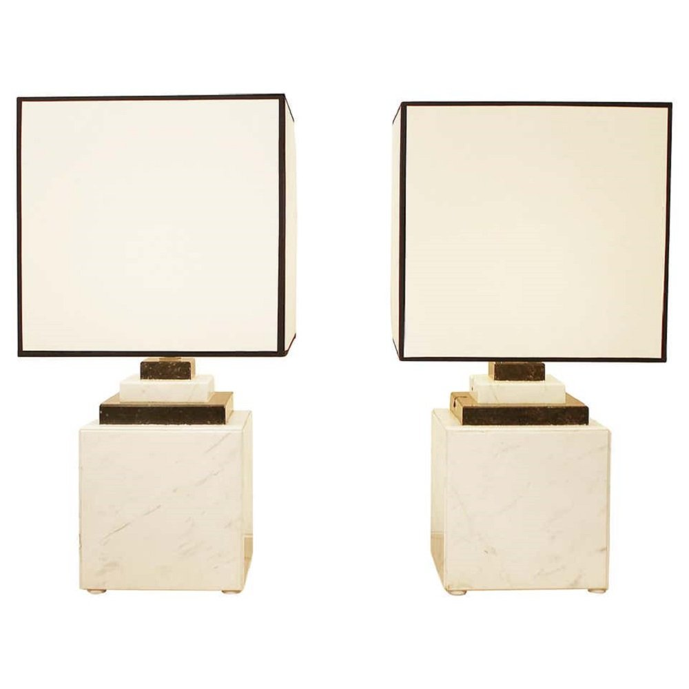 Pair of Marble Lamps, 1980s