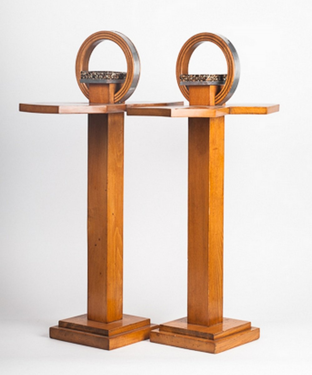 Pair of side tables with ashtrays by Maison Gerbino Vallauris, 1950s